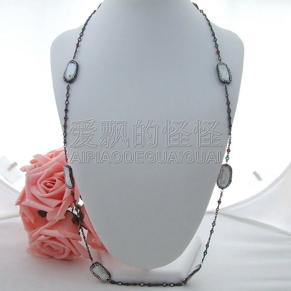 "N030106 38"" White Biwa Pearl Multi Color Crystal Chain Necklace"