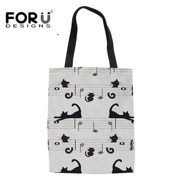FORUDESIGNS Fashion Youth Girls Borse di tela in lino Simpatico cartone animato Gatto Stampa amante della musica Casual Estate Borsa da spiaggia Tela Grande Hangbags