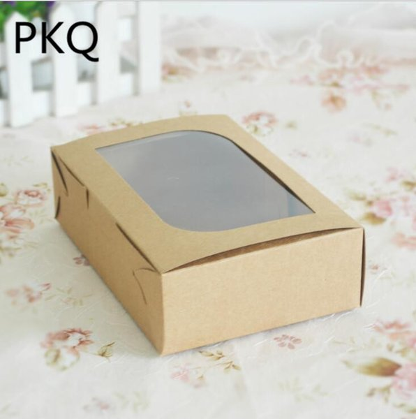 Kraft paper gift box with matte pvc window 30pcs Brown cake cookies candy packaging box Wedding party favors supplies 18x12x5cm