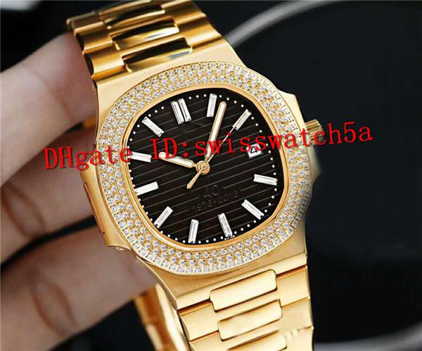 AAA luxury mens watches NAUTILUS Watch Ref.5711 Swiss Cal.324SC Automatic Movement Sapphire Crystal 18K platinum Diamond Yellow Gold Case