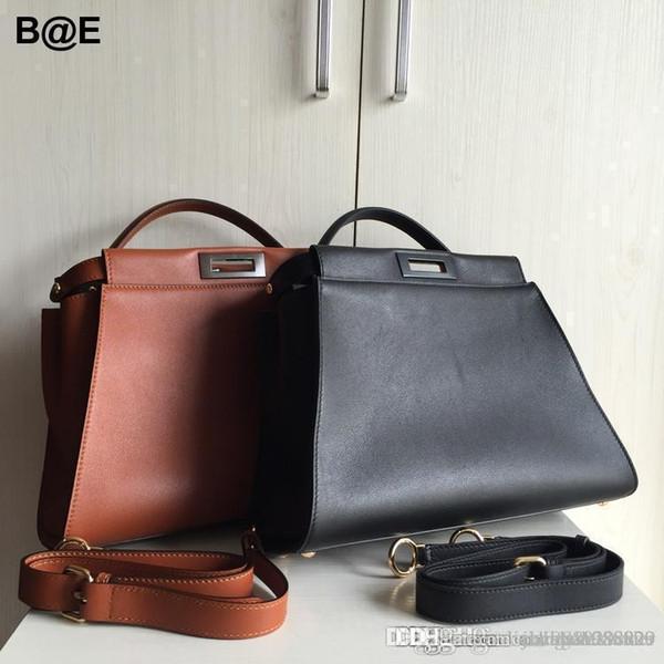 2016 new High quality F Italian brand classic Peekaboo 34cm real leather tote bag genuine leather women handbags shoulder bags
