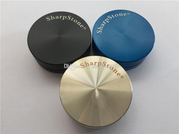 best selling Wholesale Zicn alloy metal hard top 2 piece sharp stone grinder for tobacco smoking dry herb grinders sharpstone 50mm herbal grinder