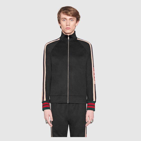2018luxury designer brand best version Autumn men clothing red green striped Tracksuits letter print zipper suit sweatshirt coat sweatsuit