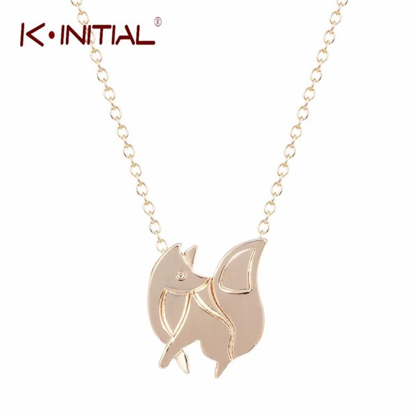 Kinitial 1Pcs Gold Silver BABY FOX SHAPED SILHOUETTE PENDANT NECKLACE for Women Statement Necklace Charms Collar Bijoux