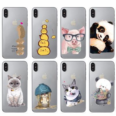 Transparent Soft TPU Case For Apple iphone 5 5s 6 6s 6plus 6splus 7 8 X Animal Cute 3D Cartoon Case