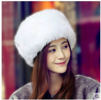 Women's  fur hat for winter genuine leather fur tapper hat with fur ear protect bomber hats Russian Ushanka caps