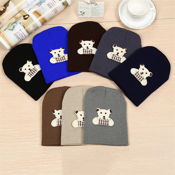 Autumn and winter warm male baby strap bear earmuffs infant children cartoon pullover hat wool hat knit hat