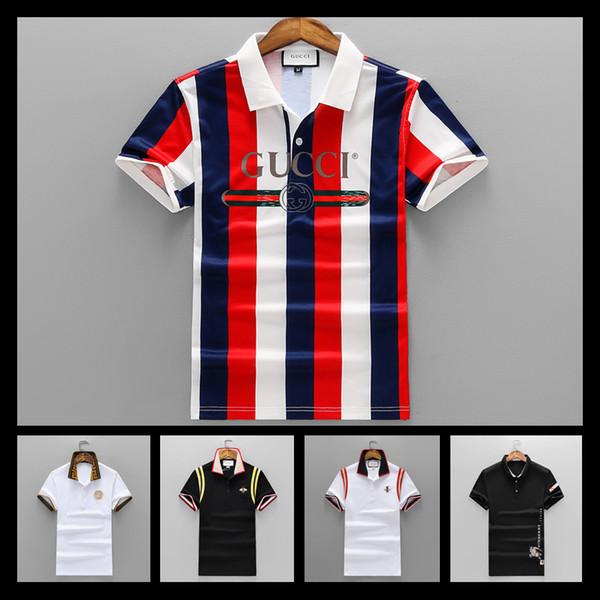 2018 gu marca de luxo dos homens camisa polo verão cobra bordado colarinho  moda t- ee1fbe52452e9