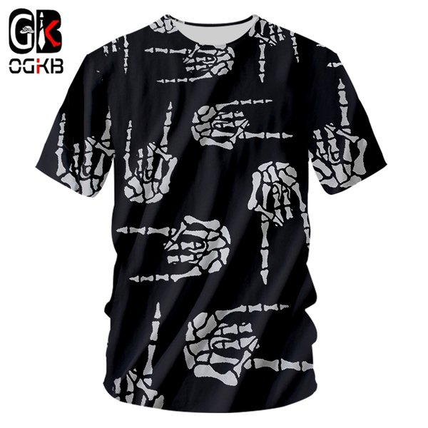 OGKB Tee Shirt Homme Fashion O Neck 3D T Shirts Printed Hand Bone Hip Hop 6XL Habiliment Homme Spring Tee Shirt Whosale
