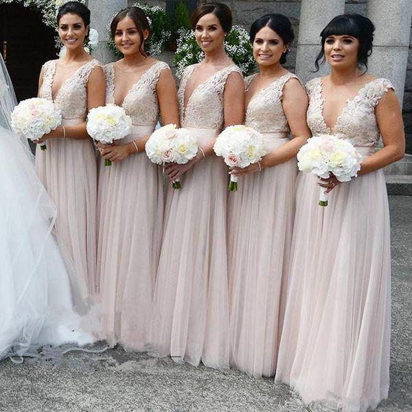 Blush Pink A-Line Bridesmaid Dresses Lace Applique Illusion Deep V neck Backless Wedding Guest Dress Tulle Cheap Bridesmaid Dress