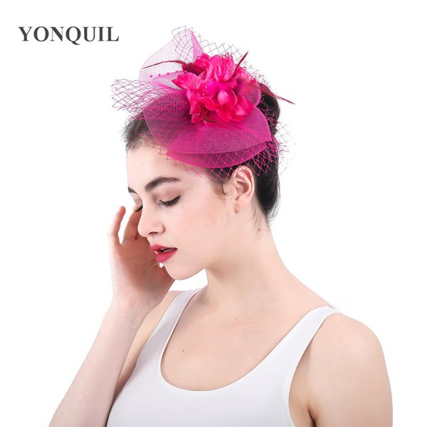 Hot pink or 14 colors fabric flower bridal veils decorated feather fascinators hats wedding hair accessories women party hats SYF350