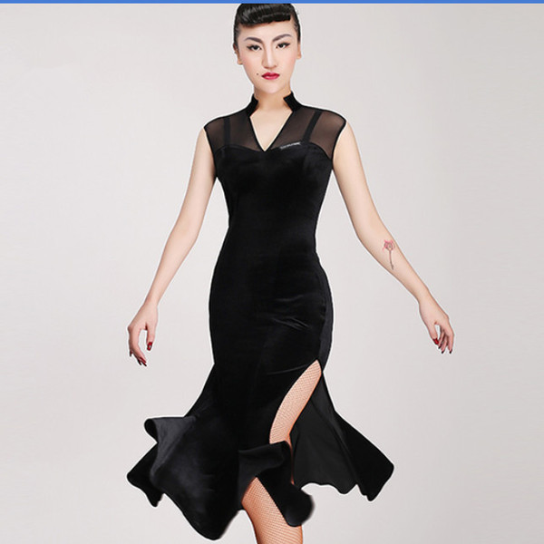 best selling Free Shipping Adult Girl Latin Dance Dress Salsa Tango Chacha Ballroom Competition Dance Dress Mesh Stitching Sexy V-Collar Velvet Dress