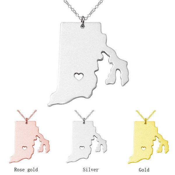 wholesale 12pcs/lot Rhode Island State map Necklace charm pendant Necklaces summer style Necklace jewelry gift