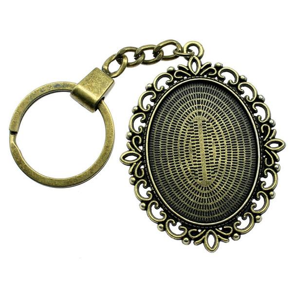 6 Pieces Key Chain Women Key Rings Car Keychain For Keys Flower Grass Inner Size 30x40mm Oval Cabochon Cameo Base Tray Bezel Blank YSK-F1218