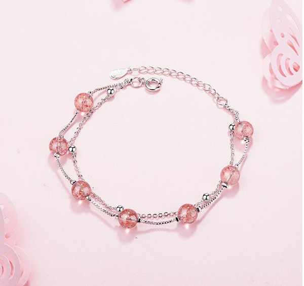 Double layer natural strawberry crystal powder Bracelet