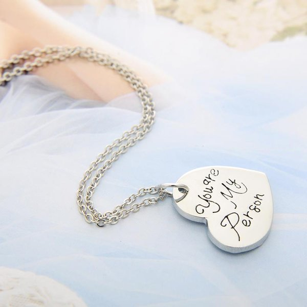 Wholesale Wholesale Engraved Grey Anatomy Necklace Hot Sales Letter You Are My Person You Will Always Be My Person Pendant Necklace Bff Gifts