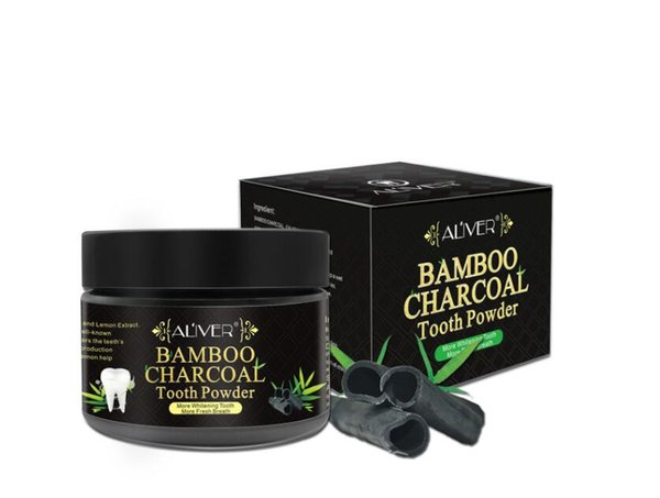 Blanqueador de dientes de bambú en polvo natural de dientes para carbono ALIVER 50 g / pieza en stock con un buen paquete