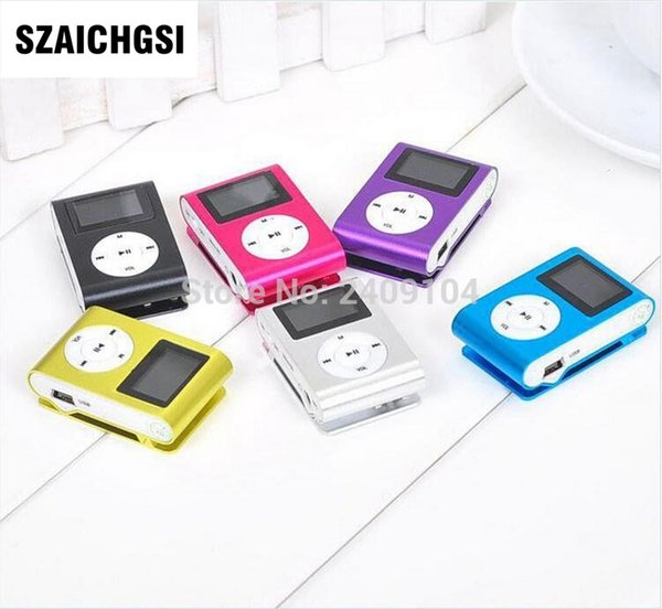 SZAICHGSI MINI Clip MP3 Player with 1.2'' Inch LCD Screen Music player Support SD Card TF+ Earphone +USB Cable with box 100pcs