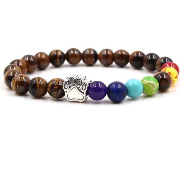 Fashion Turquoise Tigereye Yoga Bracelet Dog Paw Lava Rock Natural Stone Lapis Lazuli Beads Buddha Bangles For Gift