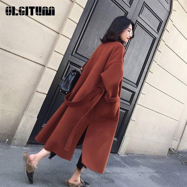 Новое 2018 женщин шерстяное пальто с длинным рукавом с длинным рукавом Среднее-длинное выдвижное ошейник Открытое переднее половое пальто Parka