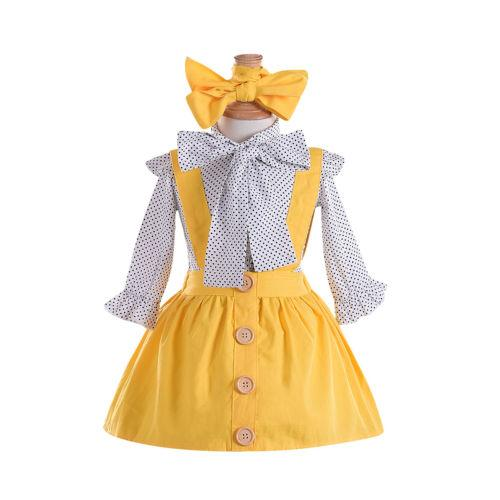 Girl Long Sleeve T-shirt Tops Skirt Dots Headband 3pcs Suit Casual Cute Set Toddler Baby Girls Clothes Sets 6M-5T