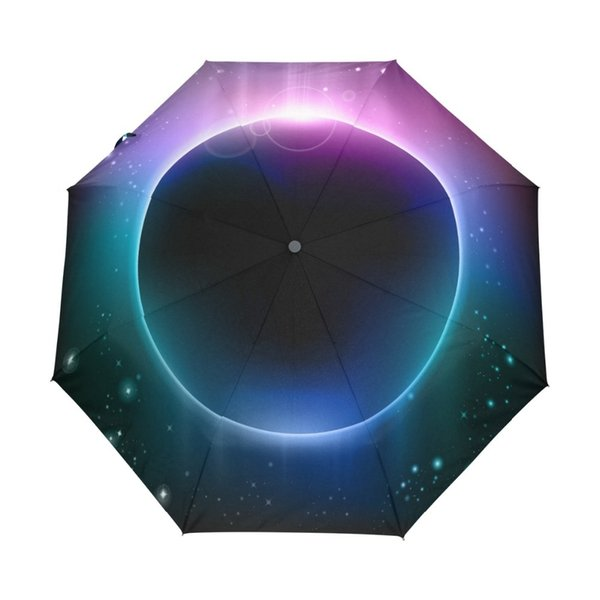 Rainbow Light Dream Planet Umbrella Sunscreen Anti UV Three Folding Sun and Rain Umbrell for Women and Men with Carrying Bag