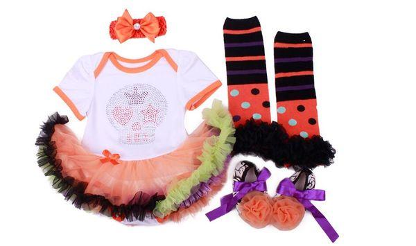 Newborn babies halloween clothes sets Pumpkin skull short sleeve tutu bubble skirts+headband+socks and shoes 4pcs suit baby suit