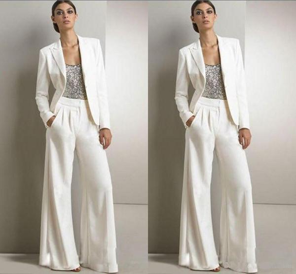 Inverno Elegante 3 pezzi madre della sposa vestito più dimensioni vintage top paillettes scoop collo sposo madre vestito pantaloni con giacche abiti