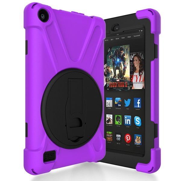 "Silicone Hard Back Cover for Kindle Fire HD 7"" (2017 Release) Kids Shockproof Holder Case for Kindle Fire HD 7 inch Tablet+Pen"