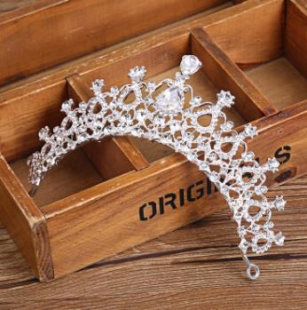 Diamante blanco plateado, lujosa corona estilo coreano europeo y americano.