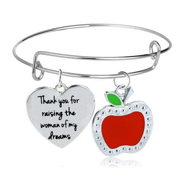 Thank You For Raising The Woman Of My Dream Apple Heart Bangle Bracelet Teachers Mom Dad Friends Adjustable Bracelet Gift