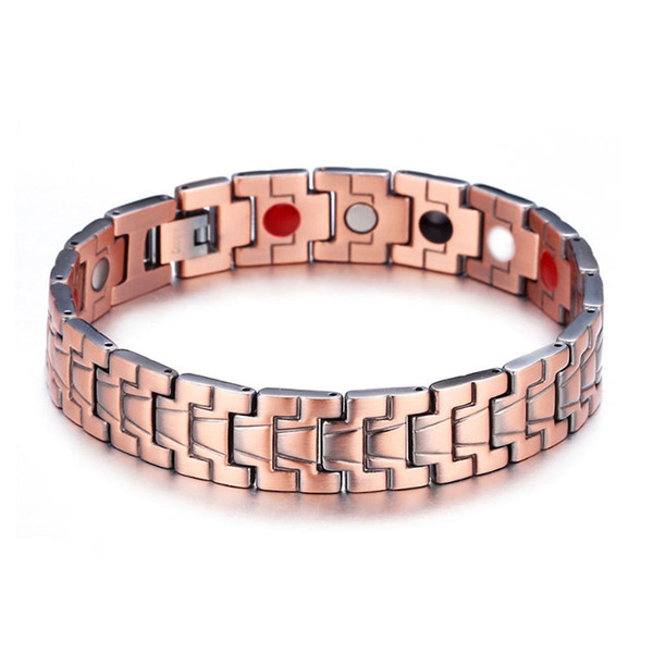 2018 High quality new red retro simplified beetle stripe negative ion germanium element magnetic Copper Bracelet