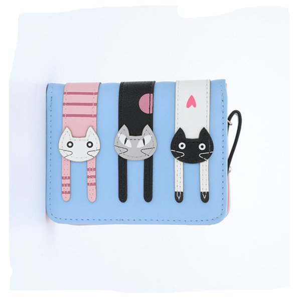 2018 HOT New Coming Fashion Lady Women Short Check Purse Female Cat Lovely Wallet PU LeatherCard Holder Famous Brand Wallet