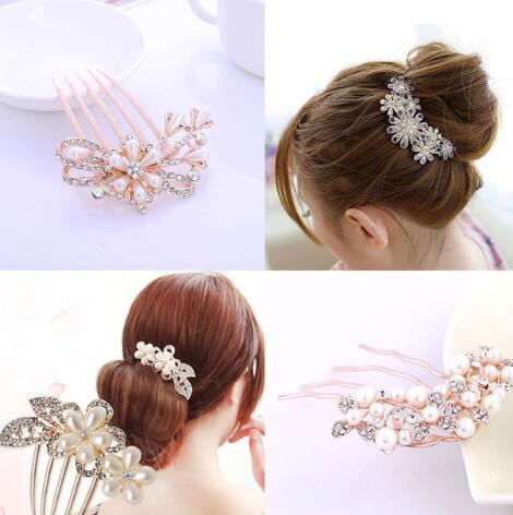 Korean sunflower five teeth diamond drill, hair ornament, pearl headwear, travel accessories, bride hair comb