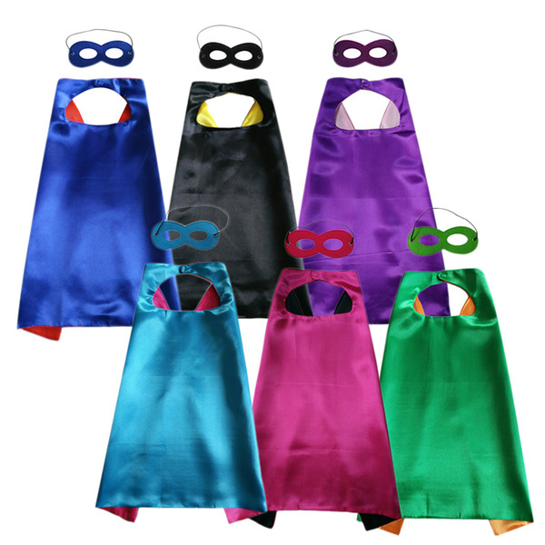 top popular 27 inch Plain double layer cape with mask set superhero cosplay cape fancy dress 6 colors choice 2021