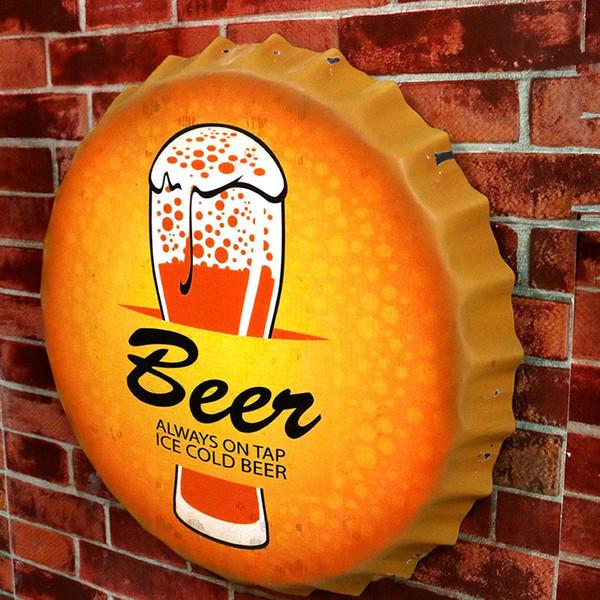 Bira her zaman musluk buz soğuk bira eski ev dekor 42 cm yuvarlak kap metal işareti pub bar cafe teneke işaretleri duvar dekor