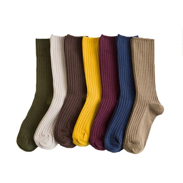 35PAIRS/LOT Women Socks Harajuku Retro ankle socks girl short ladies pure color cute Heap Sock wholesale