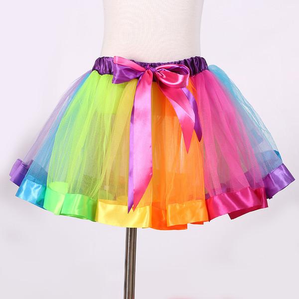 Baby Girl Clothes Toddler Rainbow Tutu Skirt Kids Tulle Skirt Children Girls Dancing Pettiskirt Cute Dancewear Princess Ballet Skirt 1-9Y