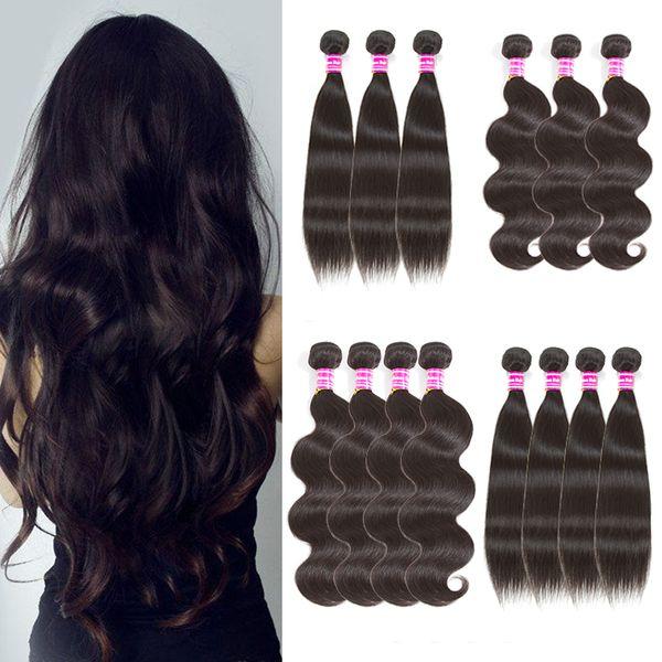 El pelo virginal brasileño teje las extensiones de cabello humano ondulado y ondulado de la onda del cuerpo recto indio indio de Malasia Extensiones de cabello humano con paquete