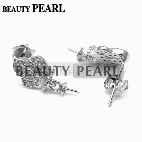 Bulk of 3 Pairs Blank Earrings without Pearls Crown 925 Sterling Silver Mountings DIY Jewellery Making