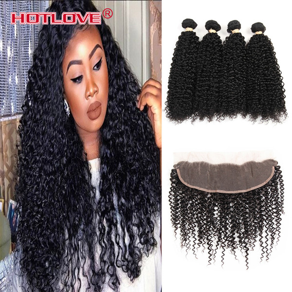 Lace Frontal Pre Plucked With Baby Hair 4 pcs Indian Kinky Curly Weave With Closure Frontal India Raw Human Hair For Black Women