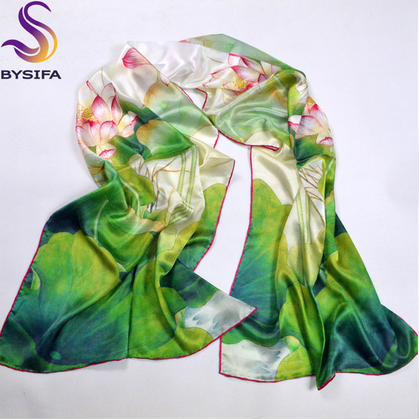 Green Lotus Scarves Shawl 100% Pure Silk Fashion Female Long Scarf Wraps Hot Sale Silk Scarf Printed For Winter Autumn 178*52cm D18102905