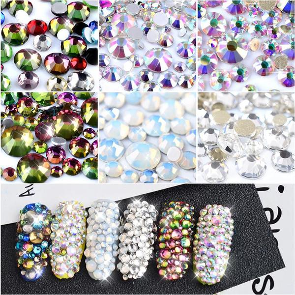 Кристалл опал смешанный размер ногтей стразами блестящие AB красочные 3D украшения