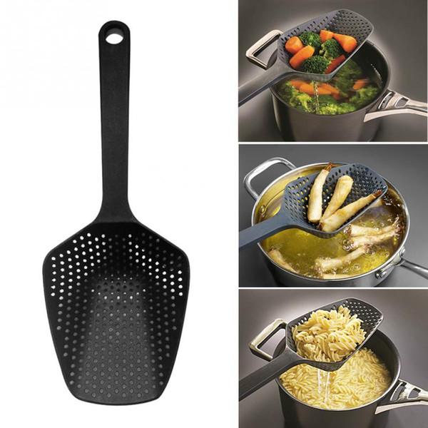 Nylon Colador Scoop Colander Accesorios de cocina Gadgets Drenaje de verduras Veggies Water Gadget Herramientas de cocina Black Large Scoop Colander