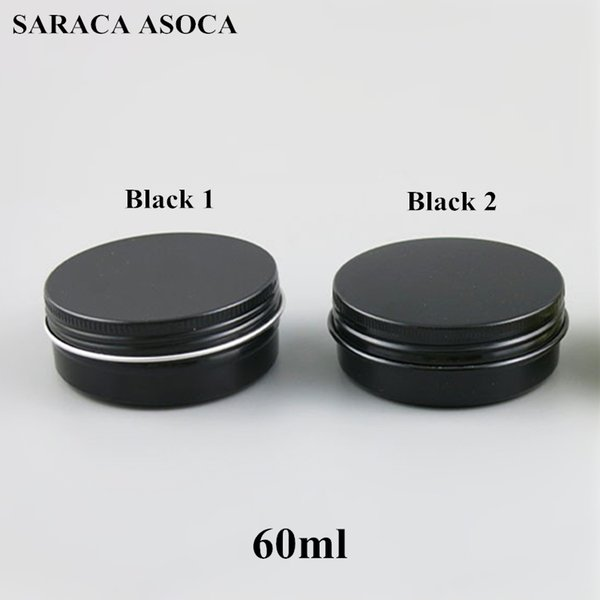 60ml empty refillable aluminum jar 60g black gold metal tin co metic container craft packaging mall aluminum box 100pc lot