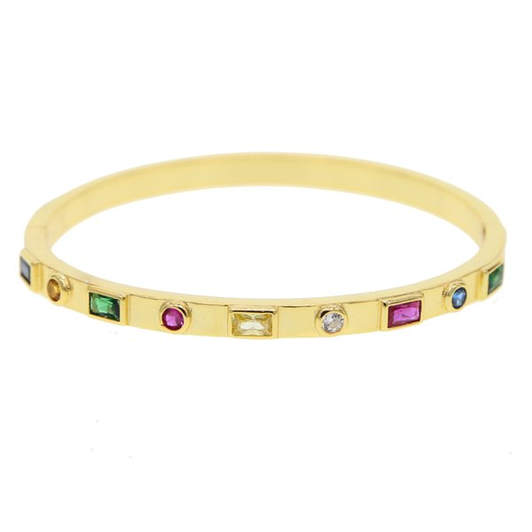 56-58mm Gold filled rainbow colorfu cz bangle for women elegance fashion jewelry bezel round cubic zirconia colored cz bracelets