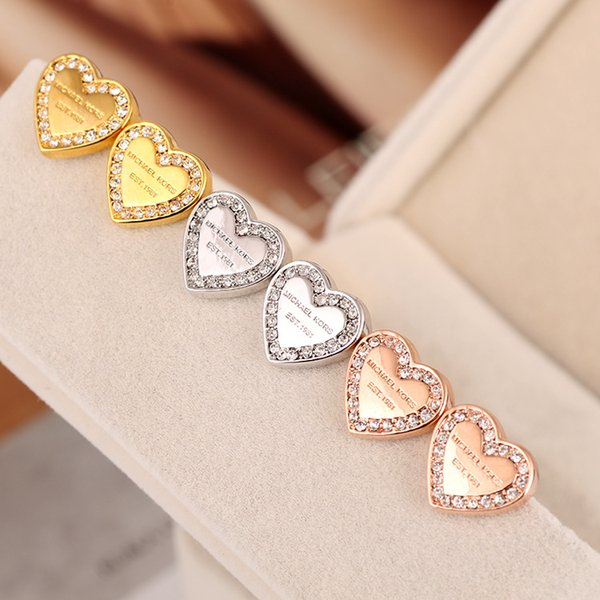 Vogue Luxury Heart-Shaped Letter Rhinestone Earring Gold, Silver, Rose Gold Color Natural Crystal Wholesale Fashion Gold-Plated Jewelry Wome