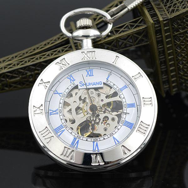 Open Face Double Roman Number Silver Tone Skeleton Steampunk Hand Wind Mens Mechanical Pocket Watch W/Chain