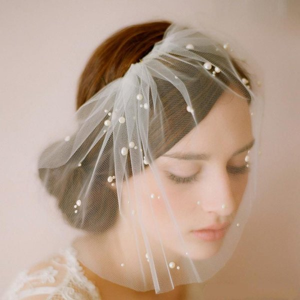Elegant White Face Veil For Wedding Party Evening Short Fashion Hair Accessories Cheap Simple Elavorate Netting Bridal Blusher Veil