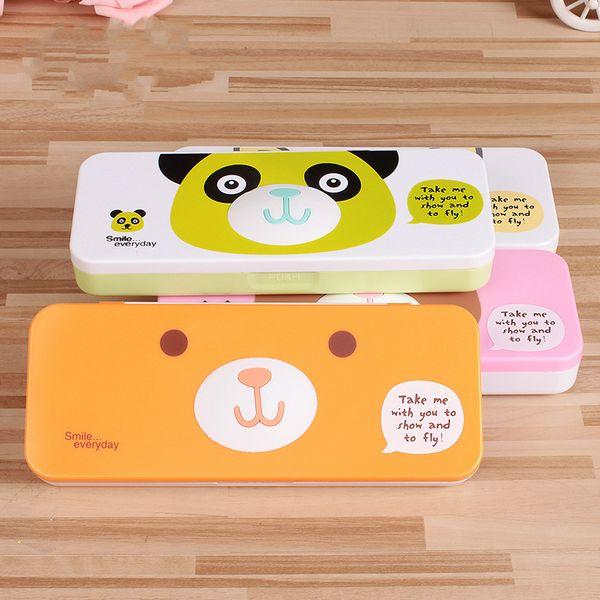 Compre Dupla Camada De Plástico Caixa De Lápis Animal Dos Desenhos Animados Caixa De Lápis Criativo Crianças Saco Simples Material Escolar Escritório